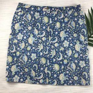 Charter Club Skirt Stretch Blue Floral 14